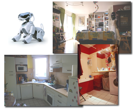 Aibo robot and a home environment used for validation of the qualitative localization and mapping algorithm